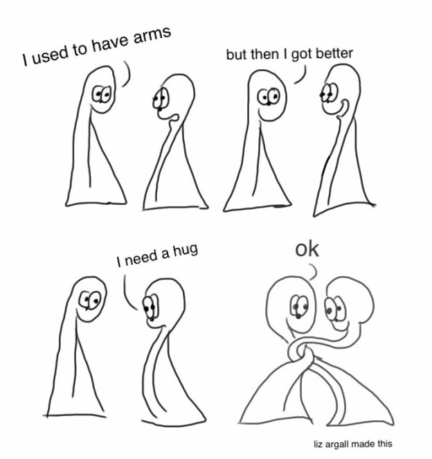 The Things talking and figuring out how to hug