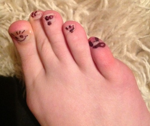 Pinky Toe is often confused, but pretends to get the joke. Pinky Toe sometimes gets left behind (owww).