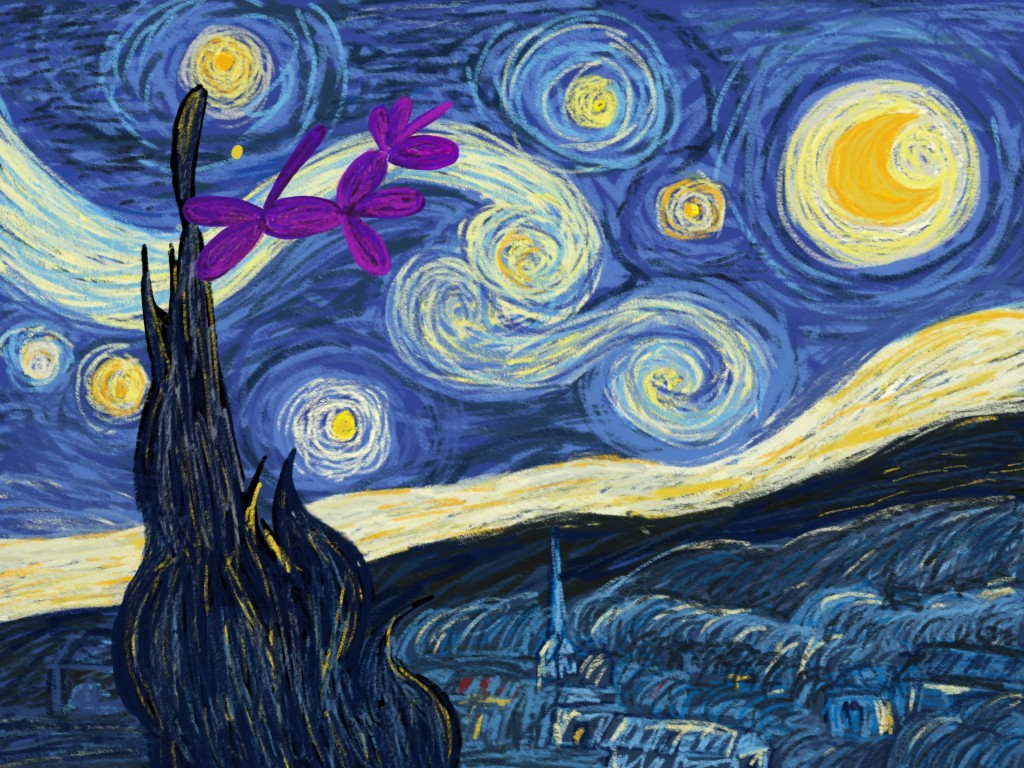 Chuffles the balloon unicorn drawn in the style of Vincent Van Gogh's Starry Night