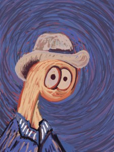 Thing in a straw hat in the style of Vincent Van Gogh's self portraits