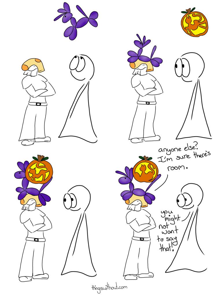 Chuffles the Balloon Unicorn and Pumpkin Cat join sock to stack onto Liz's head