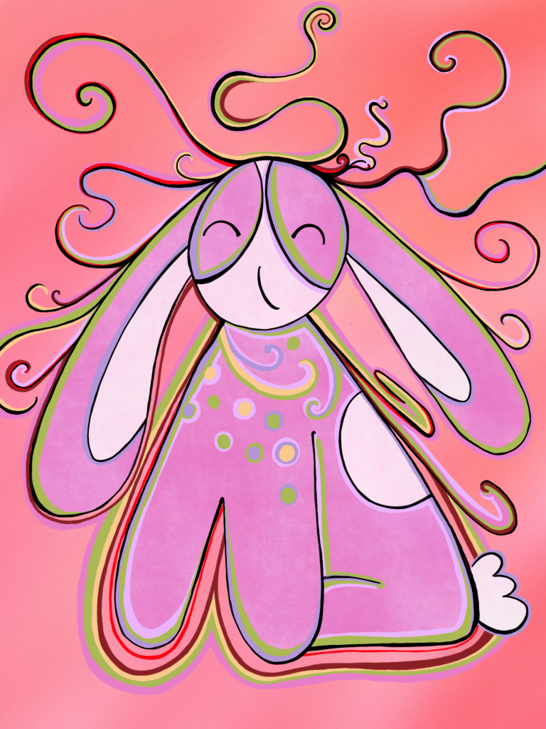 Pink bunny with tendrils of dreams and possibilities coming out of his head