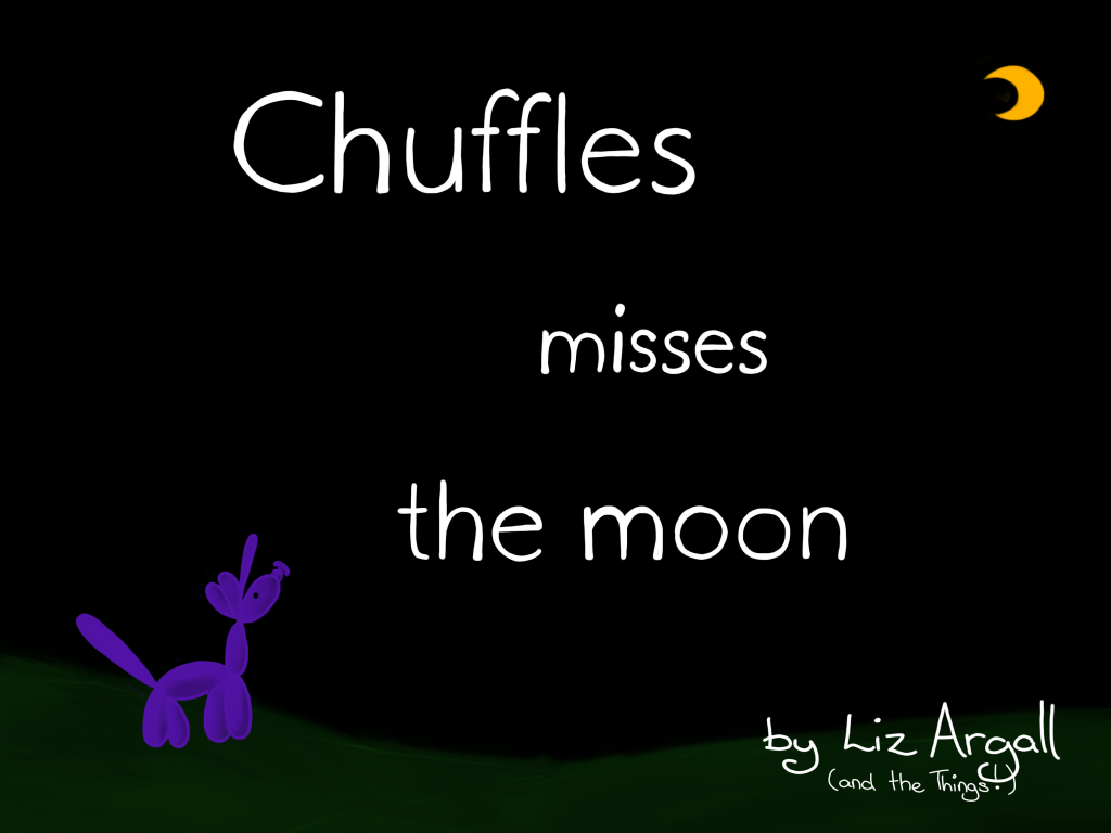 Cover of children's picture book. A balloon unicorn standing on a field of green staring up at a far away moon.