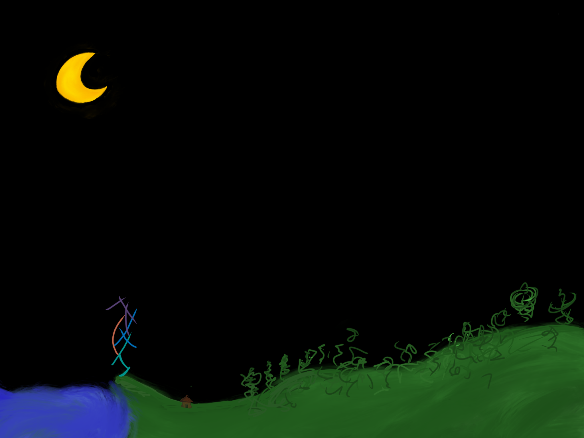Night time with ocean and moon and weird green hills